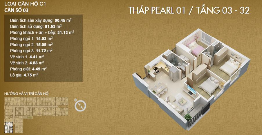 Thiết kế căn 02-Mỹ Đình Pearl