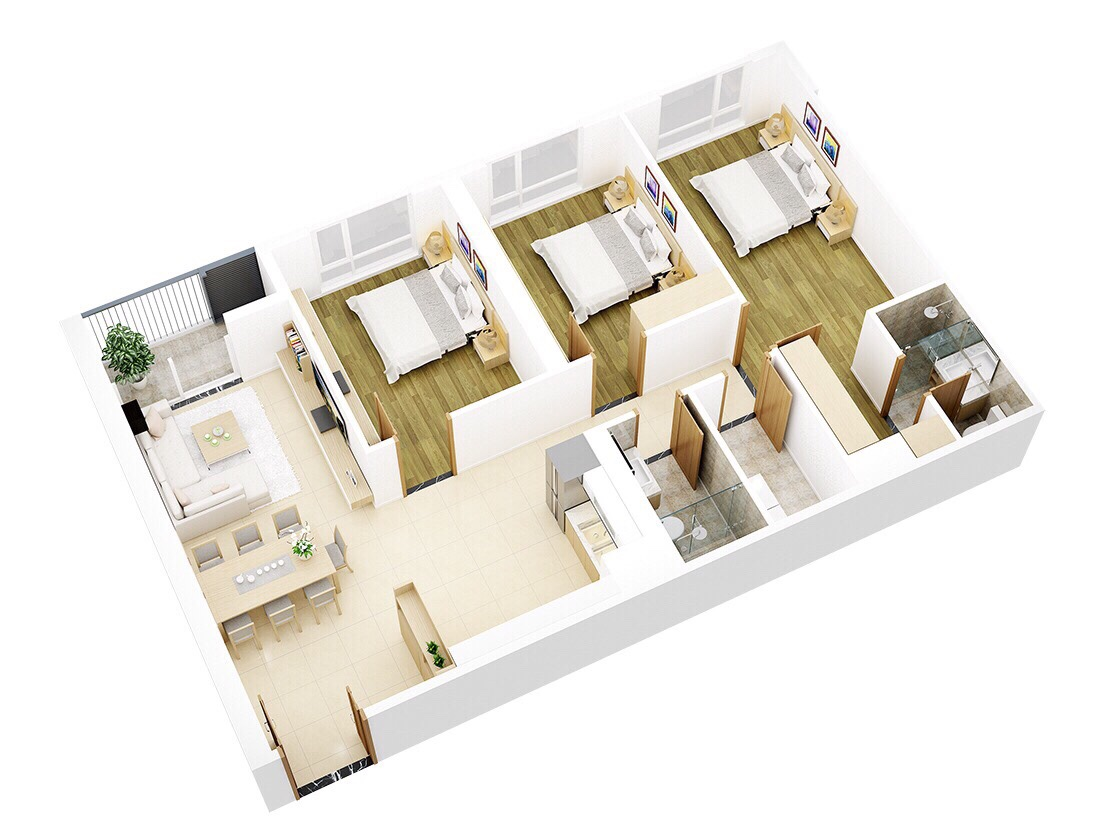 Thiết kế căn số 5-105m2 tòa Pearl 2