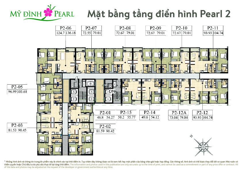Mặt bằng căn hộ Mỹ Đình Pearl 2