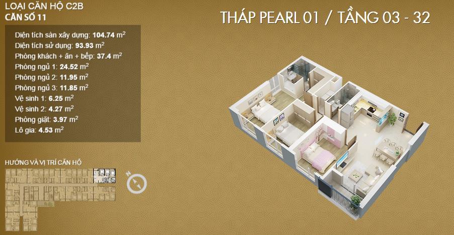 Thiết kế căn 11-Mỹ Đình Pearl